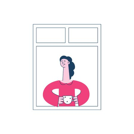 A brunette girl in pink clothes is standing by the open window holding a mug, a concept of neighbors and neighborhood in the city, vector flat illustration.
