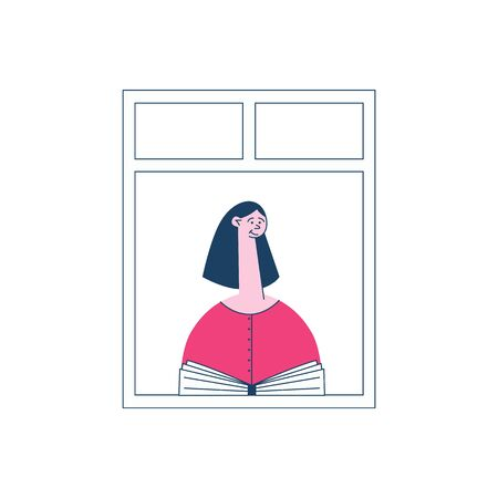 A brunette girl in a pink sweater is sitting by the open window with a book, the concept of neighbors and neighborhood in the city, vector flat illustration.