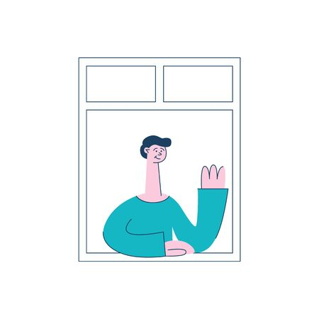 A brunet man stands at the window and raised his hand in a welcome gesture- vector flat illustration with man neighbor by the window.