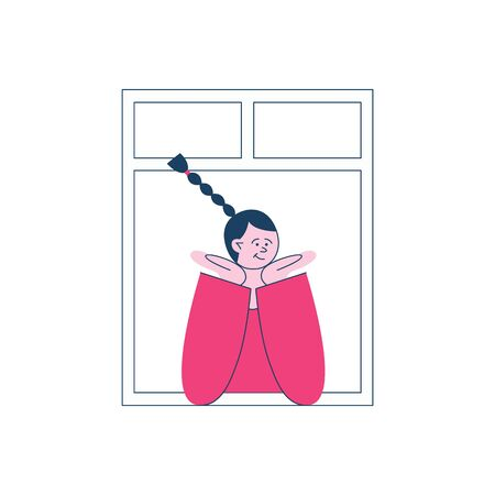 A brunette girl is sitting by the open window in a friendly pose, the concept of neighbors and neighborhood in the city, vector flat illustration.