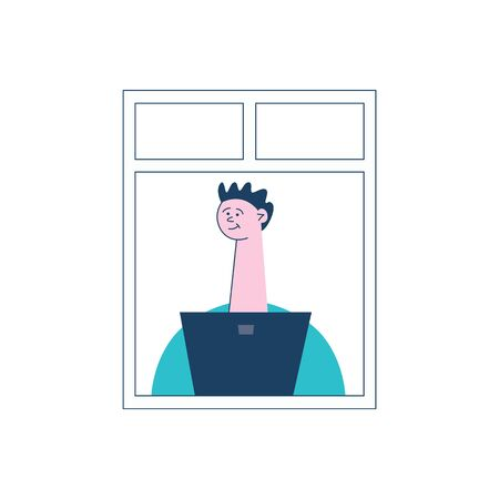 A young, curly man sits by the open window behind a laptop or computer. Concept of neighbors and neighborhood in the city, vector flat illustration.
