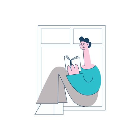 A young brunet guy sits by an open window and reads a book- vector flat illustration. Ilustracja