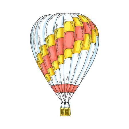 Aerostat and hot air balloon for retro travel. Flight on aerostat, airship and hot air balloon with basket. Hand drawn vector illustration.