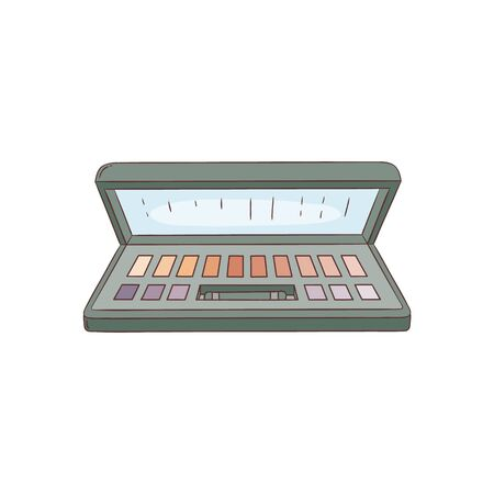Eyeshadow palette black plastic case top view makeup box vector illustration isolated on white background. Beautiful hand drawn makeup cosmetic product object in sketch style. Vektoros illusztráció