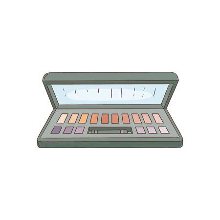 Lidschatten-Palette schwarz Kunststoffgehäuse Draufsicht Make-up-Box-Vektor-Illustration isoliert auf weißem Hintergrund. Schönes handgezeichnetes Make-up Kosmetikprodukt im Skizzenstil Vektorgrafik