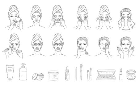 Application steps of facial mask on woman head and cosmetics set sketch style, vector illustration isolated on white background. Female face skin treatment and care infographic elements