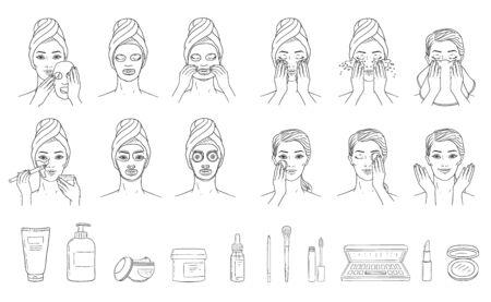 Fasi di applicazione della maschera facciale sulla testa della donna e cosmetici impostano lo stile di schizzo, illustrazione vettoriale isolato su sfondo bianco. Elementi infografici per il trattamento e la cura della pelle del viso femminile