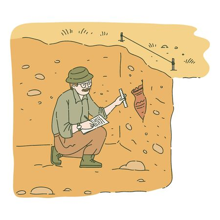 Male archaeologist sitting in pit and researching ancient amphora sketch style, vector illustration. 일러스트