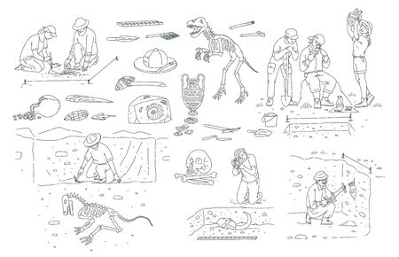 Set of archeology tools and people working on excavation outline sketch style, vector illustration.
