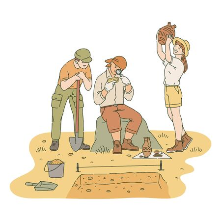 Arqueólogos masculinos y femeninos felices investigando artefactos encontrados estilo de dibujo, ilustración vectorial aislado sobre fondo blanco. Exitosa excavación arqueológica de tesoros antiguos. Logos