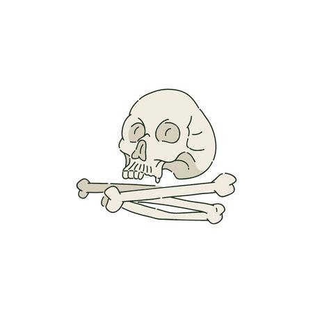 Cráneo humano o cráneo y montón de huesos en el estilo de dibujo, ilustración de vectores aislado sobre fondo blanco. Atributo típico de Halloween, restos de cabeza humana.