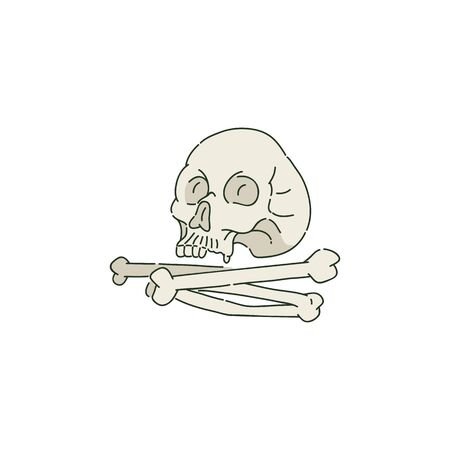 Human skull or cranium and pile of bones in sketch style, vector illustration isolated on white background. Typical attribute of Halloween, remains of human head