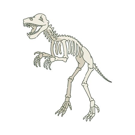Ancient prehistoric dinosaur skeleton in sketch style- vector illustration.