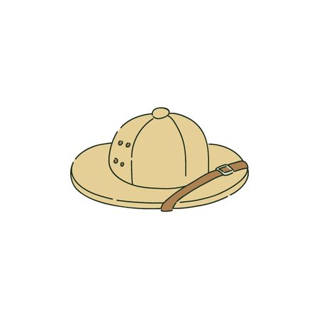 Colonial pith helmet or safari hat in sketch style, vector illustration isolated on white background. Headwear from cork, sola topee or topi, sun helmet