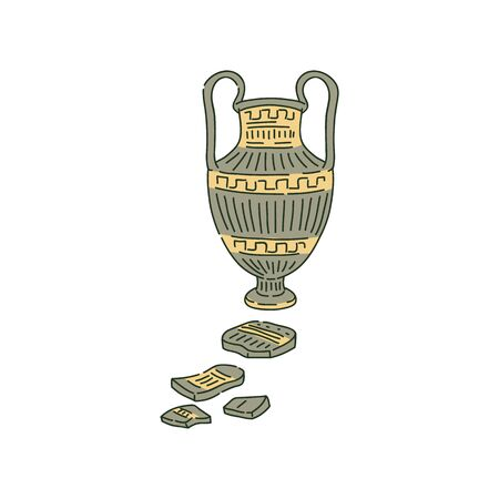 Ancient amphora with handles and splinters sketch style, vector illustration.