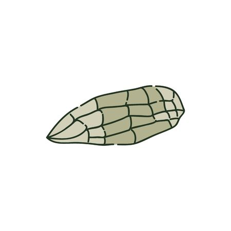 Lying ancient axe stone or piece of rock sketch style, vector illustration isolated on white background. Stone Age primitive tool, geological sample, archaeological artifact
