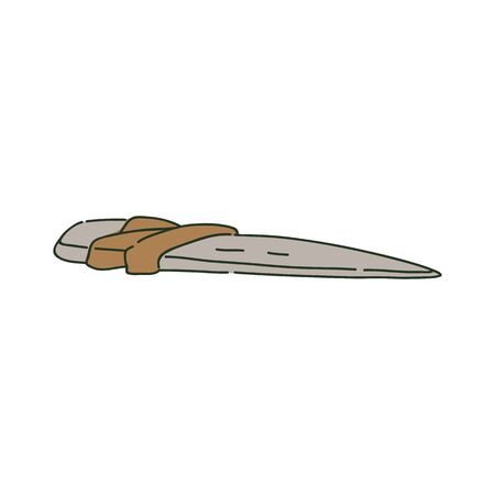 Ancient primitive stone knife or dagger in sketch style, vector illustration isolated on white background. Tool and weapon of prehistoric caveman, sharp stone or rock tied by rope, bone knife