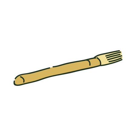 Artistic paint brush or archaeology brush sketch style, vector illustration.