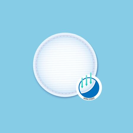 Clean round cotton pad infographic with realistic detail, hygiene disc with stitched edge for makeup removal and facial skin care with focus on natural extracts, vector illustration.