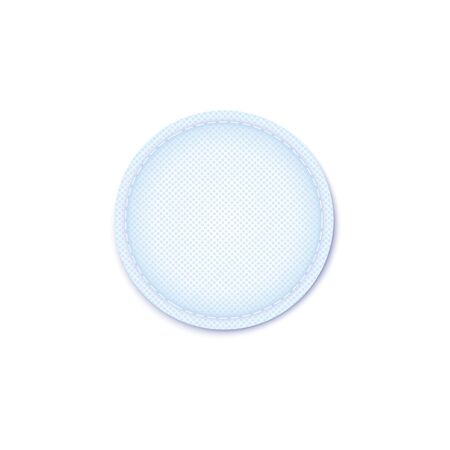 Single cosmetics cotton hygiene pad absorbent porous inner material with stich on the edge. Facial treatment sponge surface vector illustration isolated on white background.