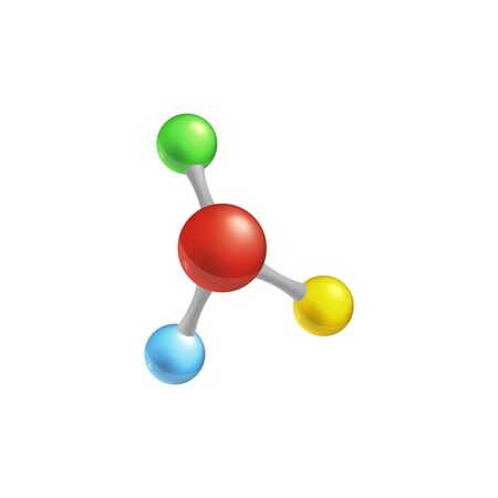 Molecule model isolated colorful vector illustration, chemistry themed 3d icon for science and medicine, atom structure shown with four colorful spheres connected in one shape. Illustration