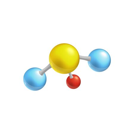 Molecule structure with four sphere chain, colorful chemistry and biology icon for scientific education material. Blue, yellow, red balls connected in one atom structure, vector illustration.