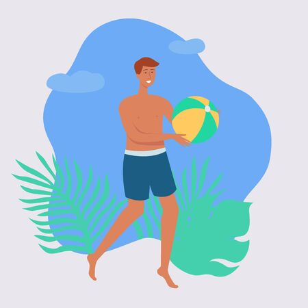 Young tanned Caucasian man in shorts on holiday or on vacation playing with a beach ball on the summer tropical beach, flat vector cartoon illustration.