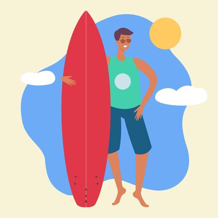 A young caucasian brunet surfer man stands with a surfboard in a tshirt, sunglasses and shorts. Beach vacation summer concept, vector flat cartoon illustration