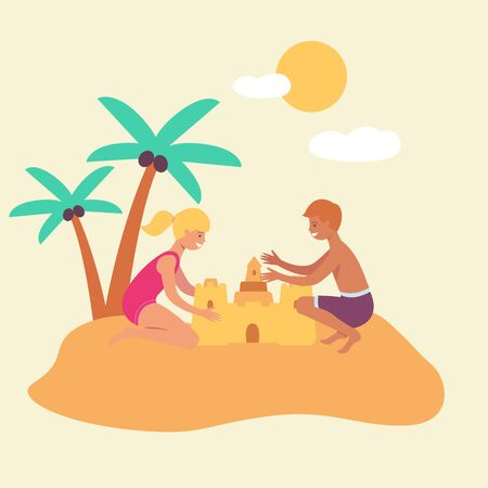 Kids, boy and girl are building a sand castle against the background of palm trees and the sky- vector illustration.  イラスト・ベクター素材