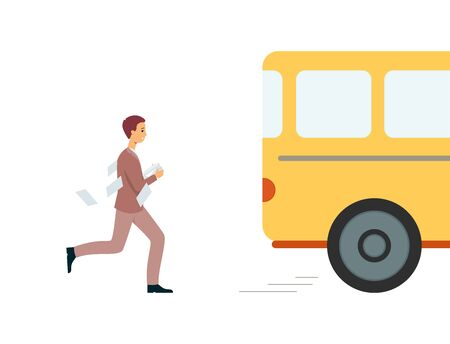 Man late for yellow work bus running after it, male cartoon character in a suit missed his ride and has to hurry to chase and stop the vehicle, isolated vector illustration on white background Illustration