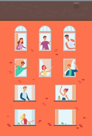 Insieme di vicini che guardano fuori dalle finestre agitando le mani, comunicando e salutandosi. Archivio di vettore.