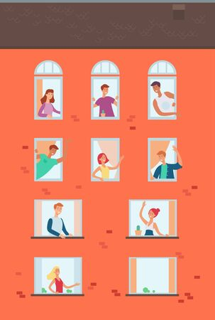 Set of neighbors looking out the windows waving hands, communicating and greeting each other. Vector file.