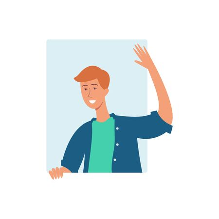 A young attractive brown haired man, leans out the window and waves, vector illustration in flat cartoon style. 스톡 콘텐츠 - 126992407