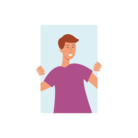 Brown haired man in a purple tshirt smiling and holding on to the window from behind.Vector illustration, cartoon style