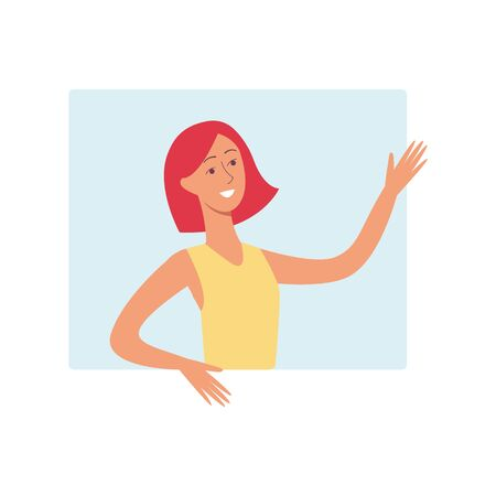 A young attractive woman with short red hair is smiling and waving her arms from the window at the back, vector illustration in flat cartoon style. Ilustracja