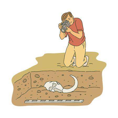 Archéologue masculin agenouillé et prenant une photo du style de croquis d'os anciens, illustration vectorielle isolée sur fond blanc.