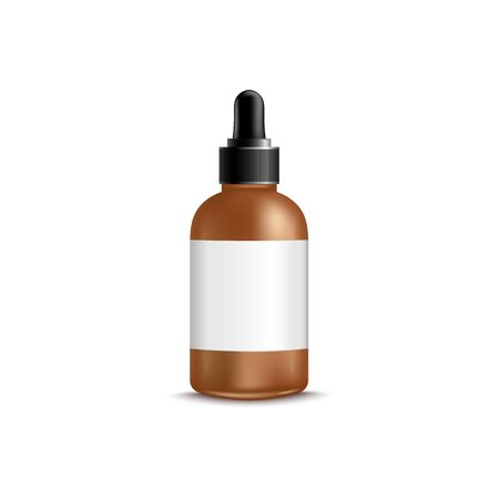 3d brown dropper bottle with blank label realistic style, vector illustration isolated on white background. Mockup of cosmetic or medical product packaging with black pipette cap and white sticker Stockfoto - 128171724