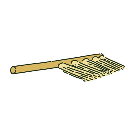 Cleaning brush or archaeological broom sketch style, vector illustration isolated on white background. Illustration