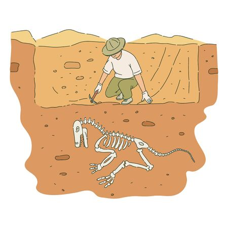 Male archaeologist with pickaxe digs out dinosaur skeleton sketch style, vector illustration isolated on white background. Ilustrace