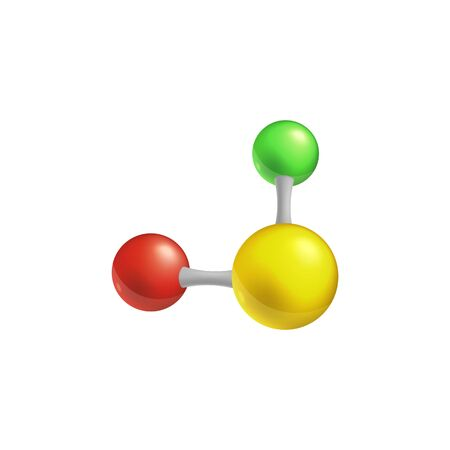 Structural chemical formula and 3d color model of a molecule with two atoms. Science and technology concept of molecular elements object isolated on the white background vector Illustration.