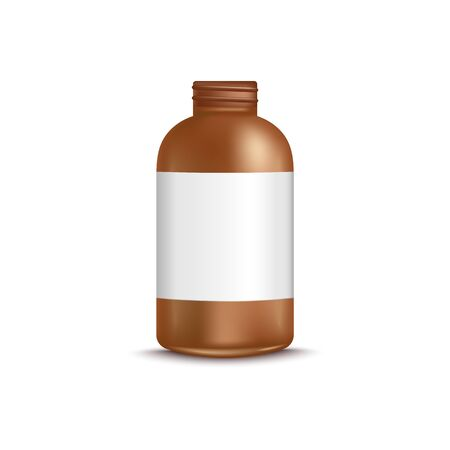 3d brown uncovered bottle with blank label realistic style, vector illustration isolated on white background. Mockup of opened cosmetic or medical product packaging with white sticker