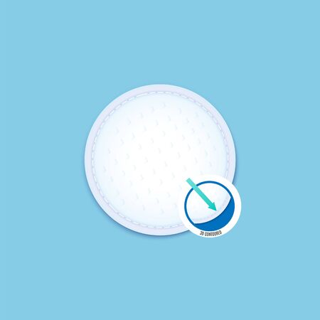 Clean white cotton pad isolated vector illustration. Hygiene infographic for contoured sanitary round disc with texture, macro view of surface detail for product marketing. Stock Illustratie