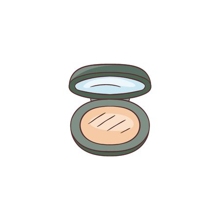 Compact powder for skin care box vector sketch icon isolated on white background. Beautiful hand drawn open black container with mirror for makeup cosmetic.