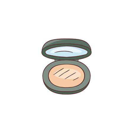 Kompaktes Pulver für Hautpflege-Box-Vektor-Skizzen-Symbol isoliert auf weißem Hintergrund. Schöner handgezeichneter offener schwarzer Behälter mit Spiegel für Make-up-Kosmetik.