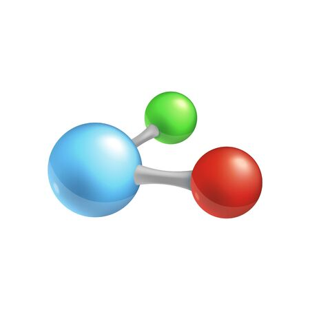Molecule icon - three colorful chemical particles connected in one chain, cartoon style isolated vector illustration for chemistry and biology books, science and medicine model. Stock Illustratie