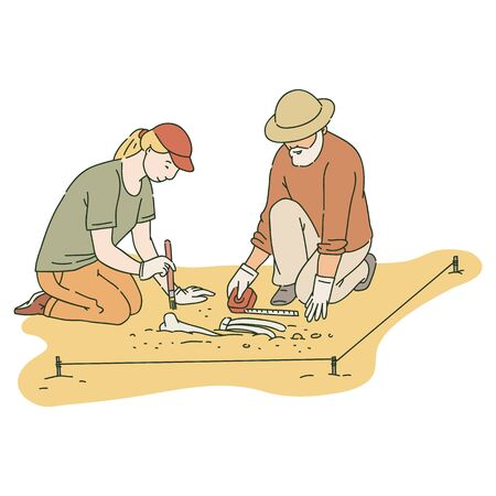 Arqueólogos masculinos y femeninos que trabajan en el sitio con herramientas especiales estilo de dibujo, ilustración vectorial aislado en marco blanco. Logos