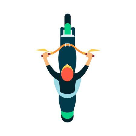 Moto sportiva a colori con pilota o pilota che indossa felpa vista dall'alto illustrazione vettoriale isolato su sfondo bianco. Simbolo o icona per il design sportivo delle corse di moto.