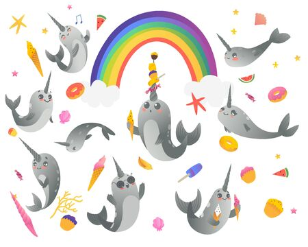Set of cute cartoon gray narwhals with rainbow, ice creams, sweets and seashell. Vector collection of cute sea unicorns, cartoon animals, isolated illustration on white background.