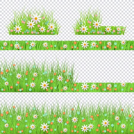 Vector green grass with flowers bush, borders set for summer landscape design on transparent background. Natural decoration element for parks, gardens or rural fields scenery. Lawn or plants object.