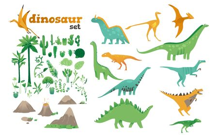 Set of dinosaurs, ancient plants, volcanoes of the Jurassic period. Dinosaur collection in cartoon flat style. Isolated vector illustration on white background. Illustration